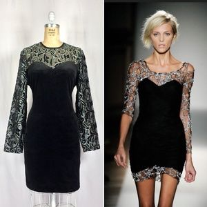 80's Velour Cocktail Dress Sheer Lace Long Sleeves